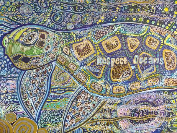 Sea Turtle Swimming Through Algae Art   Cynthia Christensen Art