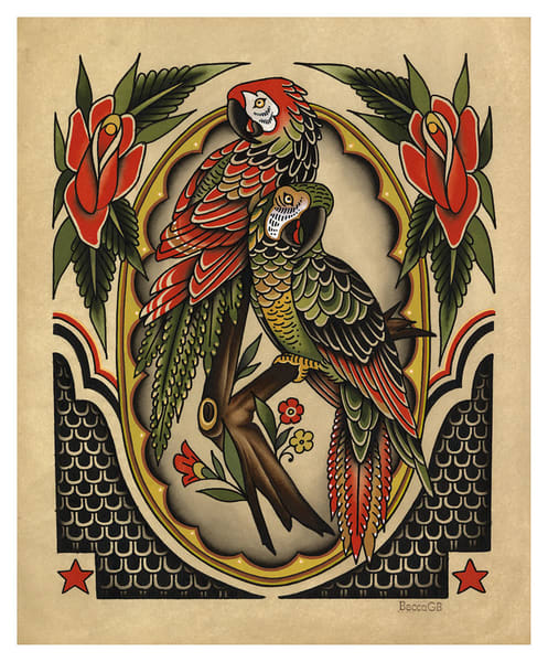 Becca Genné Bacon: Parrots Giclee | Kings Avenue Tattoo