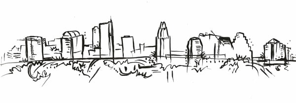 Austin Skyline 2008 Ink Drawing - Fine art prints Gena Destri