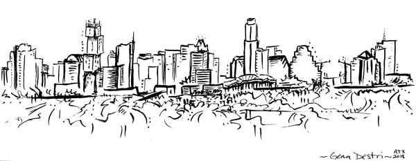 Austin Skyline 2018 Drawing fine art prints - Gena Destri