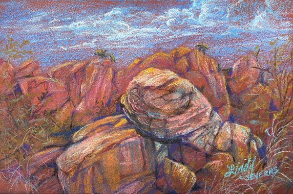 Lindy Cook Severns Art | The Mountain's Secret Entrance, original colored pencil