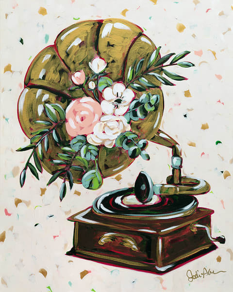 Gramma is an original acrylic painting of a gramophone with a floral motif.