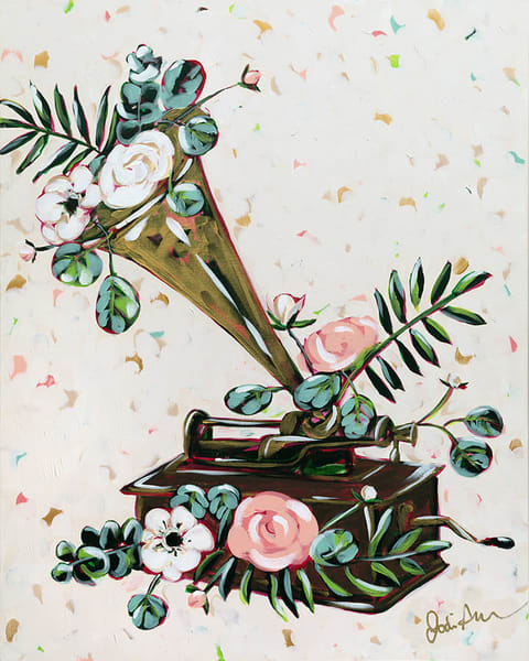 Grampa is an original acrylic painting of an antique music player.