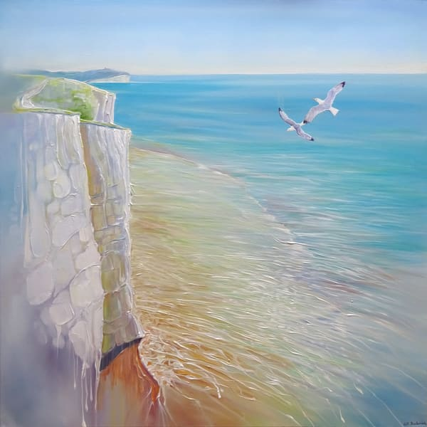 painting of the view from the cliff with kittiwakes at Seaford