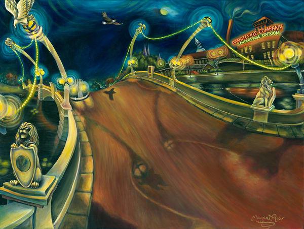 Butts Memorial Bridge At Dusk Art   Digital Arts Studio / Fine Art Marketplace