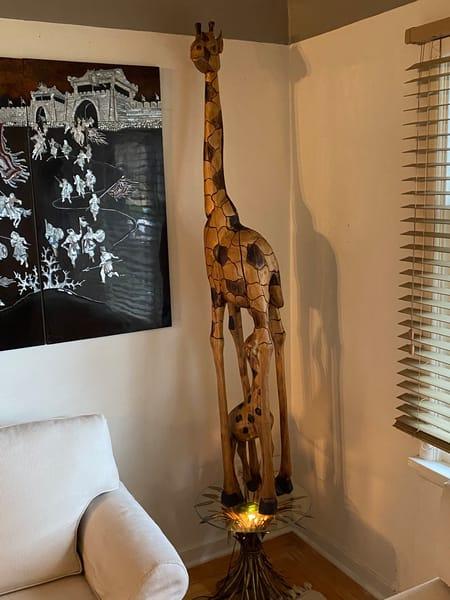 Mothering Giraffe   Hand Carved Hardwood Art | artloversgallery