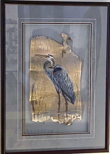 Blue Heron On Birchwood Art | artloversgallery