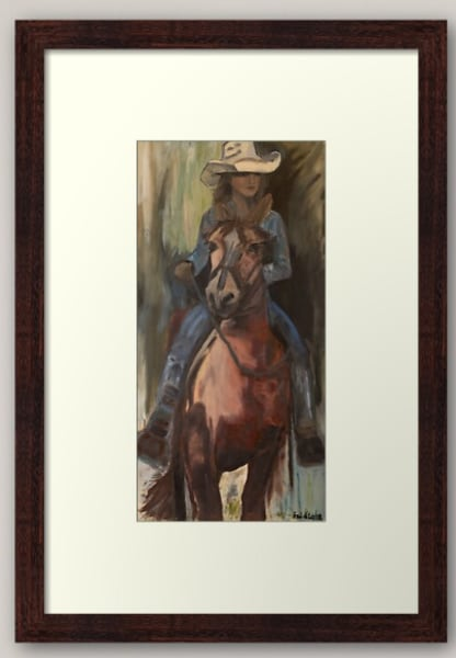 FRAMED Art Cowgirl and her horse