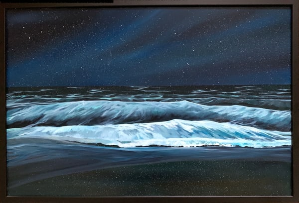 """Celestial Reflections"" Ocean at Night Original Oil on Linen Canvas Painting"