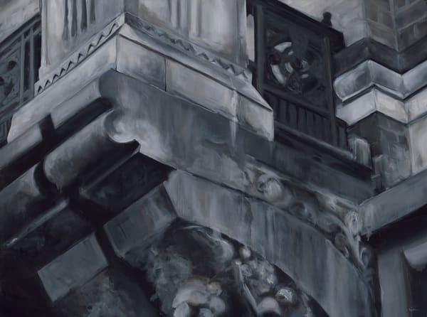 Academy Building 02 - Balcony. Original oil painting by Kim Gatesman.