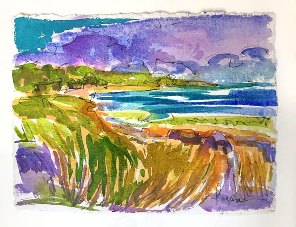 Watercolor Painting Beach Ocean View by Dorothy Fagan