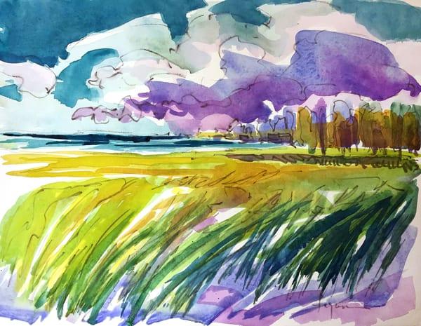 Beautiful Marsh Watercolor Painting, Original by Dorothy Fagan
