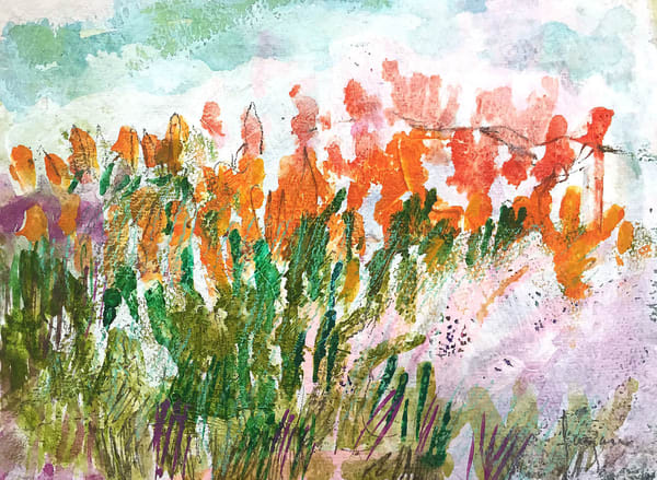 Abstract Wildflower Painting, Original  Watercolor by Dorothy Fagan