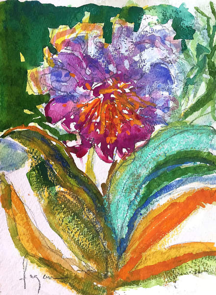 Orchid Watercolor Painting, Original Art by Dorothy Fagan
