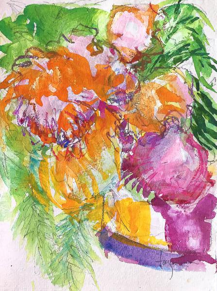 Golden Orchid Original Watercolor Painting   Dorothy Fagan Joy's Garden