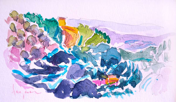 Abstract Tuscan Landscape Watercolor Painting by Dorothy Fagan, Vineyard View