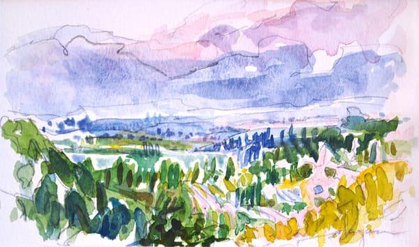 Plein air Watercolor Tuscan Landscape by Dorothy Fagan