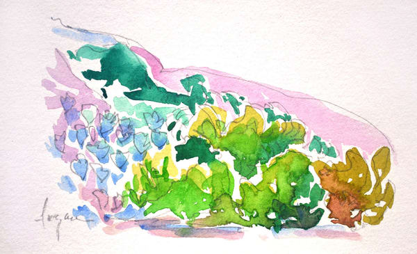 Small Abstract Landscape Watercolor Painting by Dorothy Fagan