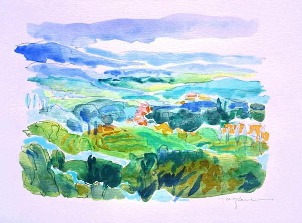 Tuscan Dream, Original Watercolor Painting