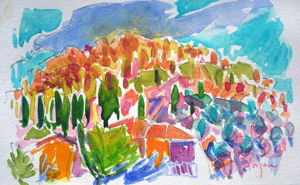 Abstract Mountain Watercolor Painting, Original by Dorothy Fagan