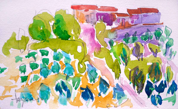 Tuscan Landscape with Olives, Watercolor Painting by Dorothy Fagan