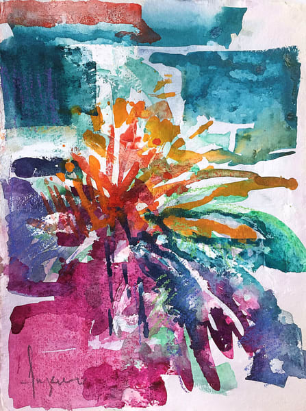 Abstract Floral Watercolor Painting, Original Art by Dorothy Fagan