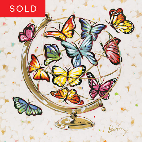 Hope, an original acrylic painting of butterflies fluttering in a golden globe.
