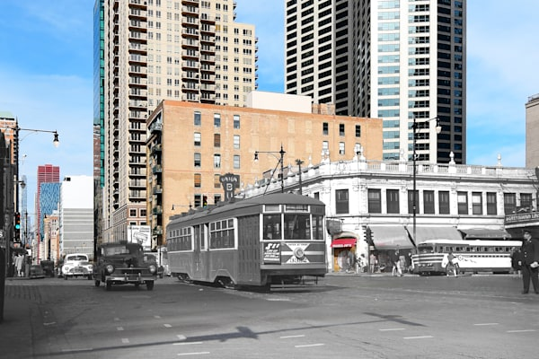 Chicago Streetcar Southbound On Wabash At Roosevelt Road Art | Mark Hersch Photography