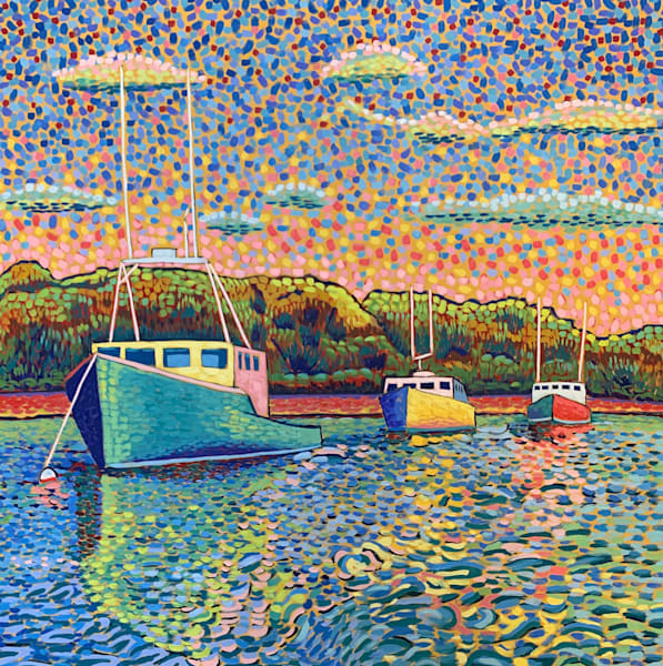Three lobster boats, landscapes, maine, coast, seascape