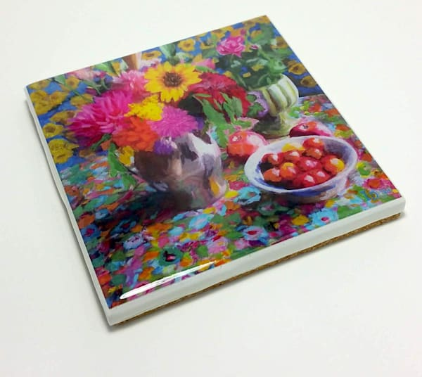 Still Life With Zinnia   Hand Made Coaster | smalljoysstudio