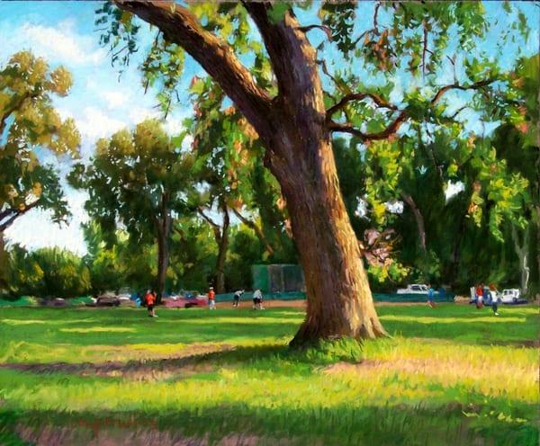 Softball Game, Distant View Art   Waif Mullins Art
