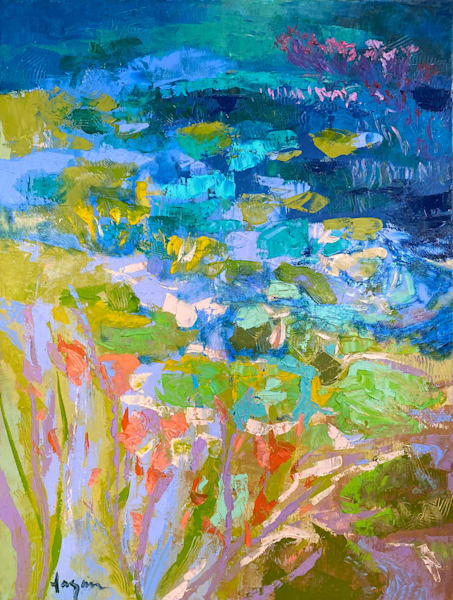 Large Abstract Water Lily Painting, Original Oil by Dorothy Fagan