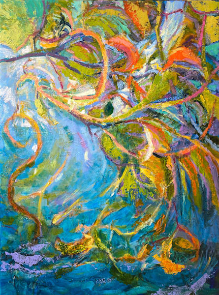 Blue Water Garden Painting, Original Oil by Dorothy Fagan