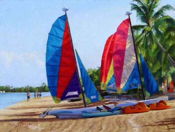 Catamarans, Couples, Swept Away, Negril, Jamaica Art   Waif Mullins Art