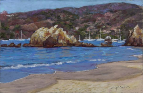 Looking Towards Town, Playa La Ropa Art | Waif Mullins Art
