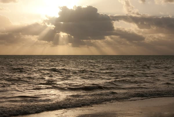 Key-Biscayne, Sunrise, ocean, photograph, sepia-toned, print