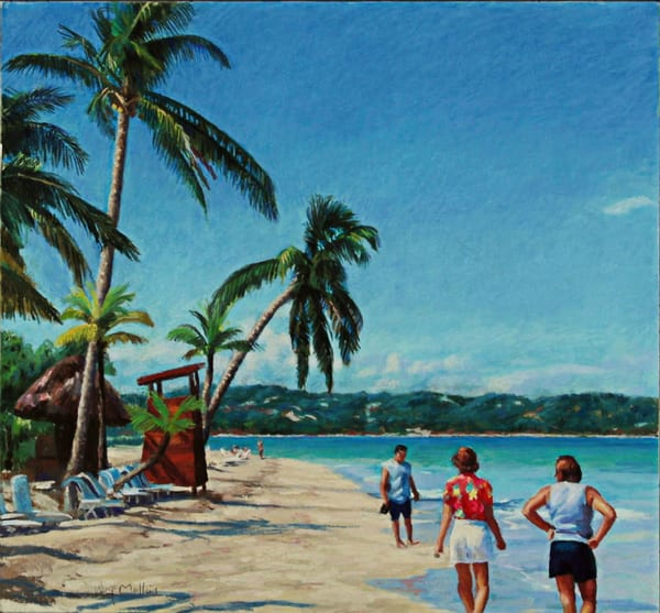 Morning Walk, Couples, Swept Away, Negril, Jamaica Art   Waif Mullins Art