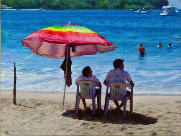 Lifeguards, Playa La Ropa Beach. Art | Waif Mullins Art