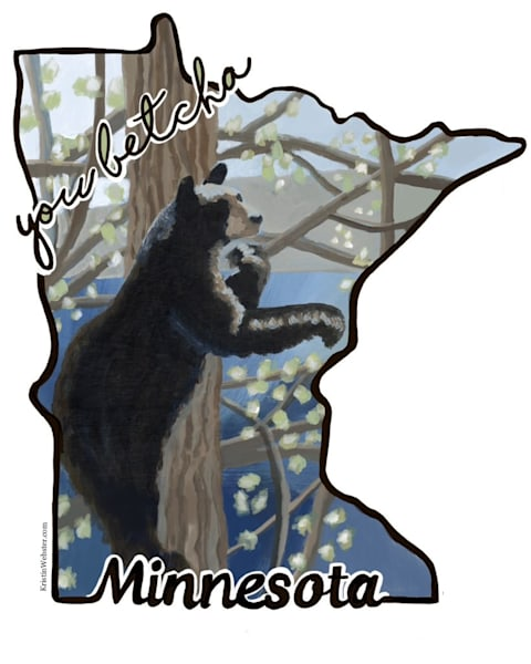 You Betcha Bear Sticker Art | Kristin Webster Art Studio