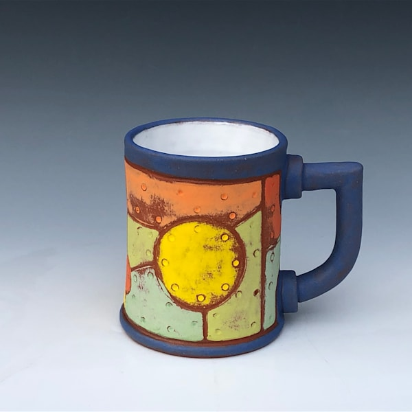Riveted Metal Mug, Sky Blue & White Glaze | Gerard Ferrari LLC