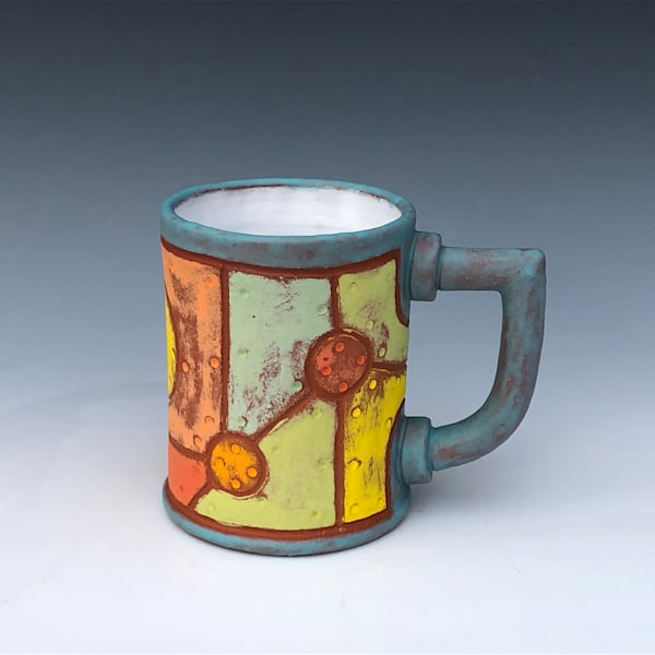 Riveted Metal Mug, Robin Egg Blue & White Glaze | Gerard Ferrari LLC