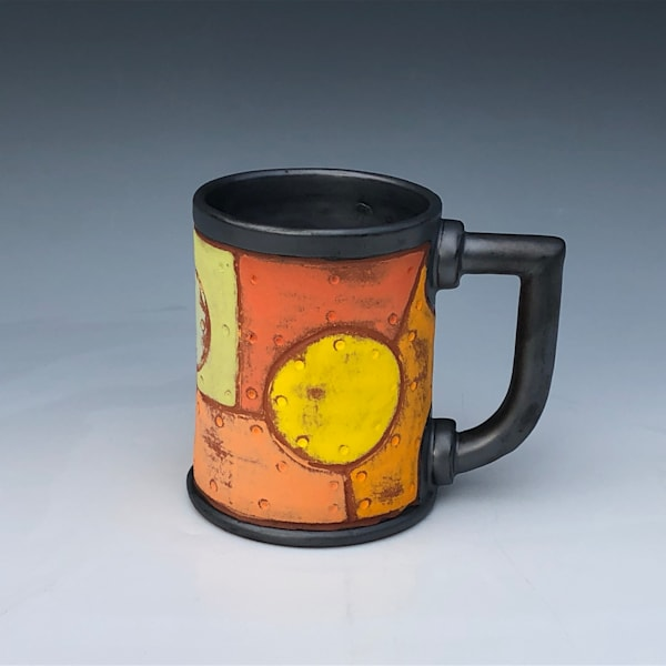 Rivet Metal Mug With Metallic Glaze | Gerard Ferrari LLC