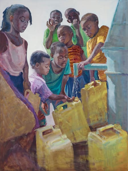 Children At The Well Art | Toni Danchik Fine Art
