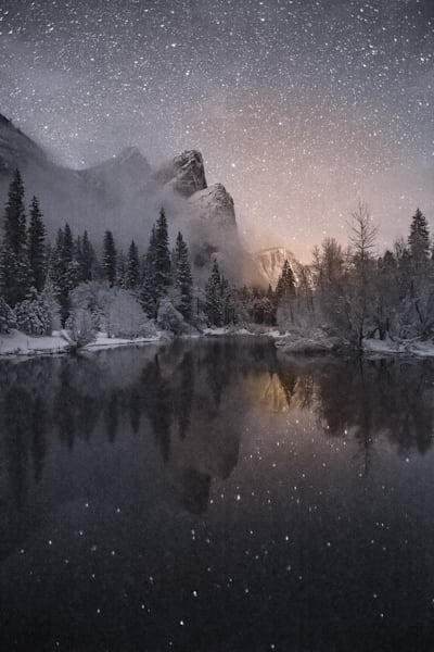 Yosemite Valley under a Winter night sky by Charlotte Gibb