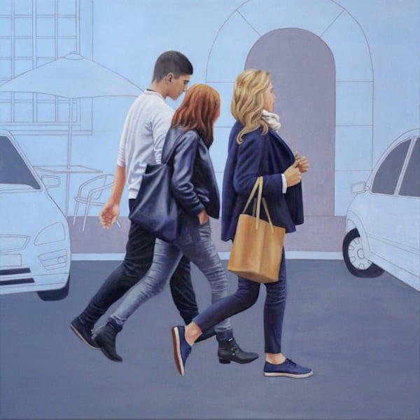 Young People Walking   In Blue  Art | Lidfors Art Studio