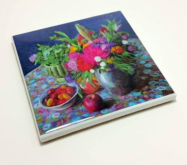 Coaster (Hand Made)   Flowers In Pewter Jar   smalljoysstudio
