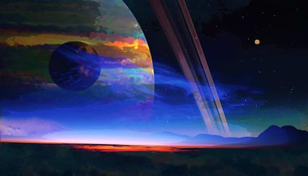 Ringed Planet Moon Art | Don White-Art Dreamer