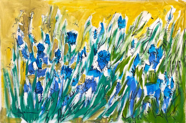 Blue Cornflower Painting, Oversize Original Art by Dorothy Fagan