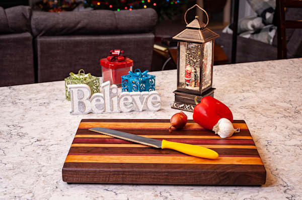 Cutting Board, 11x17, with Walnut, Cherry, & Purpleheart