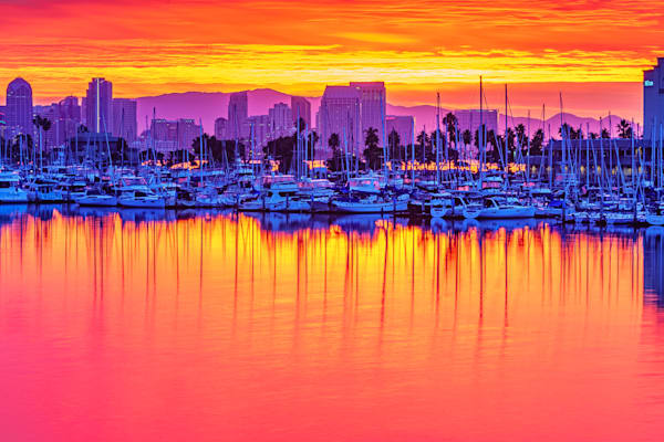 Harbor Drive, San Diego Sunrise 2 Fine Art Print by McClean Photography